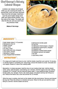 Velvety Lobster Bisque Recipe from Arruda Arruda Stewart Leonard's Stew Leonard's, Lobster Recipes, Seafood Recipes, Soup Recipes, Recipies, Crock Pot Cooking, Cooking Recipes, Yummy Eats, Rezepte