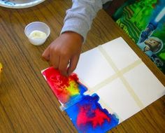 Kindergarten color mixing primary colors lesson plan art project watercolor masking tape salt, After cleaning up, the kids came to the rug for a reading of Mouse Paint to again reinforce mixing primary colors. What a fun day it was!!