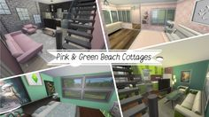 Beach Cottage part 2 & 3 - Sims 4 House Build Sims 4 House Building, Green Beach, Sims 4 Houses, Beach Cottages, Pink And Green, Geek, Geeks, Nerd, Beach Houses