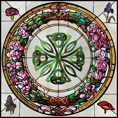 A floral stained glass memorial window featuring roses and a Celtic cross. Leaded Glass, Beveled Glass, Stained Glass Windows, Celtic Patterns, Celtic Designs, Glass Etching, Etched Glass, Lady Of Fatima, Celtic Art