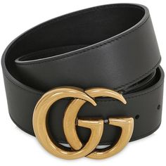 Gucci Women 40mm Gg Leather Belt (€355) ❤ liked on Polyvore featuring accessories, belts, black, jewelry, other, gucci belt, leather belt, buckle belt, logo belts and leather buckle belt