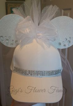 Wedding Minnie Ears Veil Hat - Bling and Gems - Removable Veil  for Wedding, Bachelorette Party, Bridal Shower, Disney Honeymoon and more! by GigisFlowerFancy on Etsy