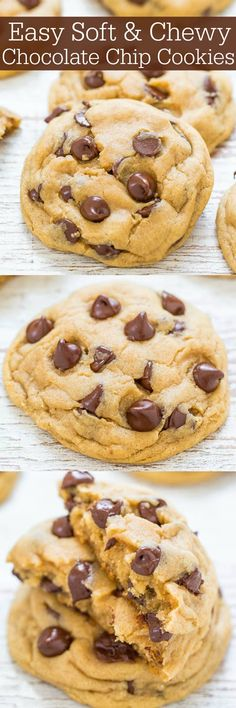Easy Soft and Chewy Chocolate Chip Cookies - Big bakery-style cookies made in ONE bowl and NO mixer required!! Soft and buttery, perfectly chewy, and loaded with CHOCOLATE! It's hard to eat just one!!