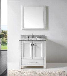 Transitional 30 inch White Bathroom Vanity with White Carrera Marble Top