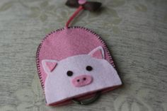 Key cover handmade Gift  Pinkky Pig from felt by BaiMintShop, ฿240.00