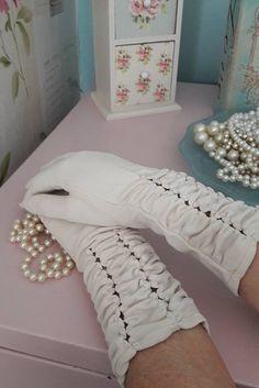 Long gloves cream gloves gift for her mid length vintage