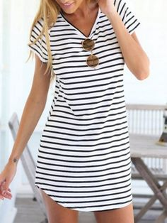 Women Dress,Haoricu Fall Vintage Autumn New Women Crew Neck Short Sleeve Striped Loose T-Shirt Dress Casual (XL, White) Shift Dresses, Women's Dresses, Casual Dresses, Mini Dresses, Cotton Dresses, Casual Wear, Casual Xl, Casual Office, Beach Dresses