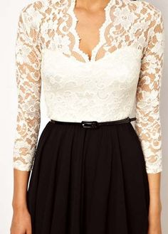 Black and White Colorblock Lace Dress