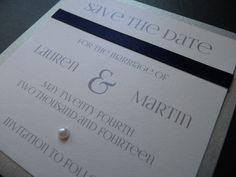 Wedding Save the Date idea with a Navy, Silver and White colour theme