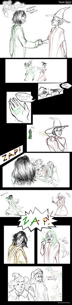 "Harry Potter - Minerva McGonagall, Severus Snape, Pamona Sprout & Dumbledore - ""team spirit"" by makani"
