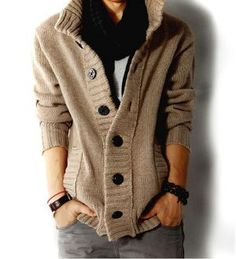 Best selling Fall and Winter Cardigan. $20 off now at Amtify. Buy Direct and save now! Men's High Collar Cardigan Fabric: Acrylic, Cotton Blend Color Available: Khaki, Dark Gray Size: XS, S, M, L *Thi