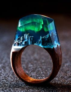 Aurora Borealis by Secret Woods rings