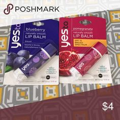 Lip Balm Set Yes To Blueberry natural smooth lip balm and Yes To Pomegranate naturally smooth flip problem with SPF 15 broad-spectrum protection. Both have triple moisture with aloe cocoa butter and Shea butter and are 99% natural. Factory sealed in original packaging. Makeup Lip Balm & Gloss