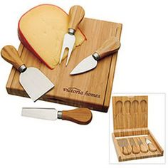 Bamboo cheese set with clamshell-style bamboo case. New for holiday this bamboo cheese set is sure to impress! Includes four bamboo-handled cheese utensils and cheese board. Features magnetic utensil holder and closure. Bamboo is a rapidly renewable material. Case and handles are bamboo. Knife is stainless steel. Always a great gift to receive!