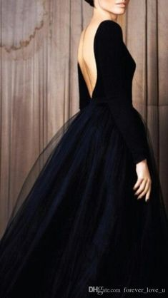 Low back/tulle skirt/skirt shape. Black couture open back tulle black tie ball… Beautiful Gowns, Beautiful Outfits, Gorgeous Dress, Beautiful Life, Simply Beautiful, Beautiful Things, Look Fashion, Fashion Beauty, High Fashion