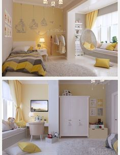 Dream Rooms Teenagers Yellow - Decoration Home Room Design Bedroom, Girl Bedroom Designs, Home Room Design, Kids Room Design, Home Decor Bedroom, Bedroom Ideas, Living Room Decor On A Budget, Dream Rooms, Home Decor Furniture