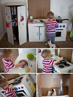 Play Kitchen from Cardboard Boxes -- I love the use of a page protector to create a window on the oven door, and the fridge! (Need To Try Diy) Cardboard Kitchen, Cardboard Box Crafts, Cardboard Toys, Cardboard Furniture, Cardboard Playhouse, Cardboard Box Ideas For Kids, Cardboard Castle, Diy Kids Kitchen, Kitchen Box