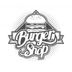 Logo for burger shop Premium Vector Diner Logo, Burger Icon, Burger Vector, Logo Design Examples, Logo Ideas, Logo Samples, Logo Restaurant, Logo Food, Shop Logo
