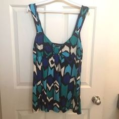 INC International Concepts Tops - Multi-Colored (Blue) Patterned Tank Top Blouse