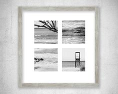 Beach photography Collage Black and White Photo Print Coastal photo Summer decor picture Grey wall art Sea Ocean Lifeguard tower Home decor by LightBluePhotography on Etsy