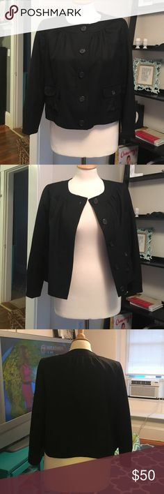 JCrew 3/4 Sleeve Jacket JCrew, size 8, 100% wool, black button up jacket. Gently worn and super cute. Can be worn all day throughout the day. J. Crew Jackets & Coats