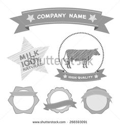 butcher shop labels and design elements Farm, cow milk Diagram and Design Elements in Vintage Style. Vector - stock vector