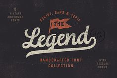 The Legend Font - Inspired by traditional American typography, this handmade collection of Script, Sans and Serif come together perfectly to create a vintage mood. The below two images show examples of how these fonts work together.