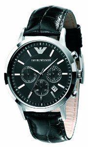 Emporio Armani AR2447 - Reloj cronógrafo de cuarzo para hombre con correa de piel, color negro: Amazon.es: Relojes