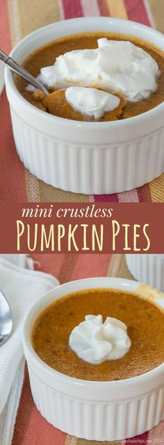 Mini Crustless Pumpkin Pies - an individual pumpkin pie recipe that's naturally gluten free (Gluten Free Recipes Thanksgiving) Pumpkin Pie filling, baked in individual ramekins, for those that aren't crust-lovers. Crustless Pumpkin Pie Recipe, Pumpkin Pie Recipes, Fall Recipes, Gluten Free Pumpkin Pie, Gluten Free Thanksgiving, Köstliche Desserts, Gluten Free Desserts, Delicious Desserts, Gluten Free Oreos