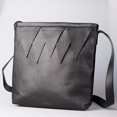 Fortress Bag from Little Ghost. Black leather handbag with triangle detail. Kingdom of Hera Collection Mens Fashion Online, Latest Mens Fashion, Cheap Designer Clothes, Fall Winter, Autumn, Black Leather Handbags, Shoe Shop, Leather Backpack, Man Shop