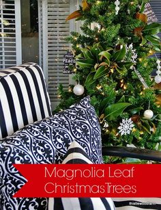 Transform a simple dollar store Christmas tree with magnolia leaves for an inexpensive way to decorate for the holidays.  thistlewoodfarms.com