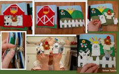 This is an awesome quiet book (you'll have to click through to see the detail)! Barn and finger puppet quiet book page.