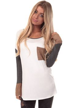 624cf423a50 Ivory Top with Charcoal Sleeves and Suede Details Boutique Shirts