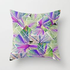 Floral geometric pattern Throw Pillow by Ellie Green - $20.00