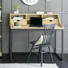 Moreton Metal and Oak Extending Desk - The Cotswold Company