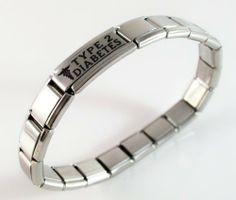 Type 2 Diabetes Medical Id Alert Italian Charm Bracelet Diabetic Bracelets 22 99