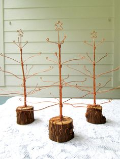 Recycled Copper Wire Christmas Trees by ShellCottageCard on Etsy