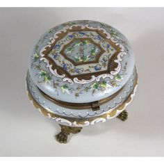 SALE Raised Enamel Glass Footed Dresser Box Antique CF Monroe's Wave... ($224) ❤ liked on Polyvore featuring home, home decor, small item storage, flower box, white flower boxes, antique box, antique home decor and bloom box