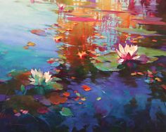 2014 - Donna Young Fine Art and Oil Paintings Lotus Kunst, Lotus Art, Water Lilies Painting, Lily Painting, Art And Illustration, Art Floral, Landscape Art, Landscape Paintings, Watercolor Flowers