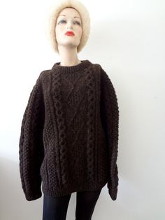 Irish Wool Sweater / chocolate brown hand knit pullover / vintage fall & winter fashion