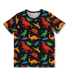 eae0c9805 This short sleeved organic cotton short sleeved t-shirt with a colourful  print of dinos all over. Nikki Nocky Noo - Baby Clothes