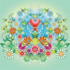 Catalina Estrada behang mural Heart Flowers
