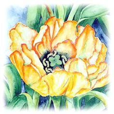 """""""Gelbe Tulpe"""" Watercolour -  Maria Inhoven www.aquarelle-inhoven.de"""