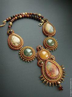 """Купить Колье """"Арабески"""" (вышивка бисером) - разноцветный, колье вышитое бисером, колье с камнями"""