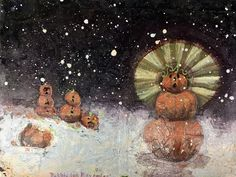 My Rumble house painting last night: who doesn't love some holy pumpkin snow folks?