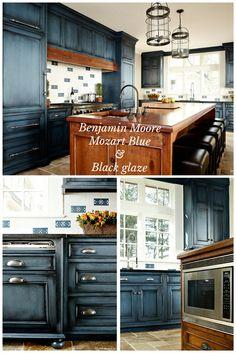 "Benjamin Moore ""Mozart Blue"" with black glaze done by Heidi Piron Design."
