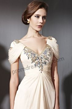 Formal Evening Gowns Sexy V Neck Cap Sleeves Open Back Beaded Cream Gold Evening Dress A Line Chiffon Floor Length 81080 Modest Dresses From Bestdavid, . Gold Evening Dresses, Evening Dresses With Sleeves, Gowns With Sleeves, Ball Dresses, Cap Sleeves, Banquet Dresses, Evening Gowns, Maternity Prom Dresses, Dress Prom