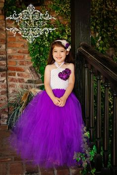Newborn - Size 8 Elegant White and Purple Flower Girl Tutu Dress (Add 8.00 listing to cart with this for 6-8 year size)