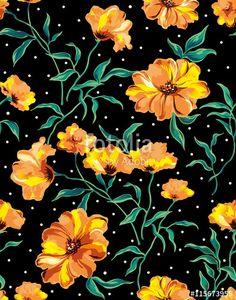 ベクター: The repeat design of an floral pattern Yellow点