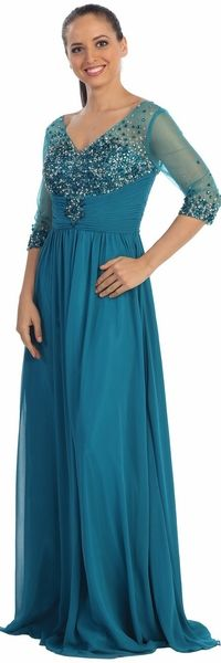 A Line Teal Formal Gown #discountdressshop #mobdress #motherofthebride #motherofthegroom #formalwear